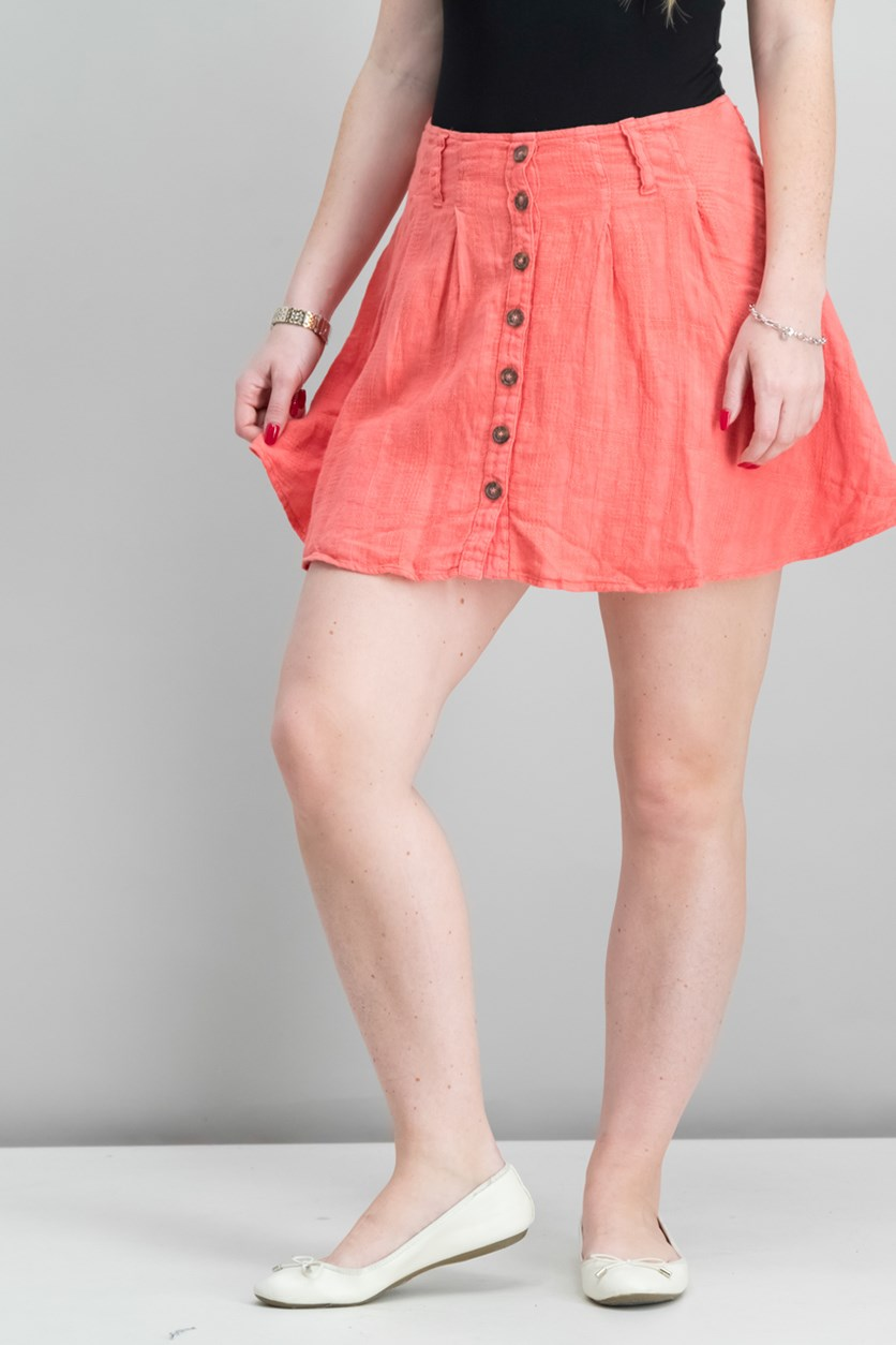 Daze Away Linen Mini Skort, Coral