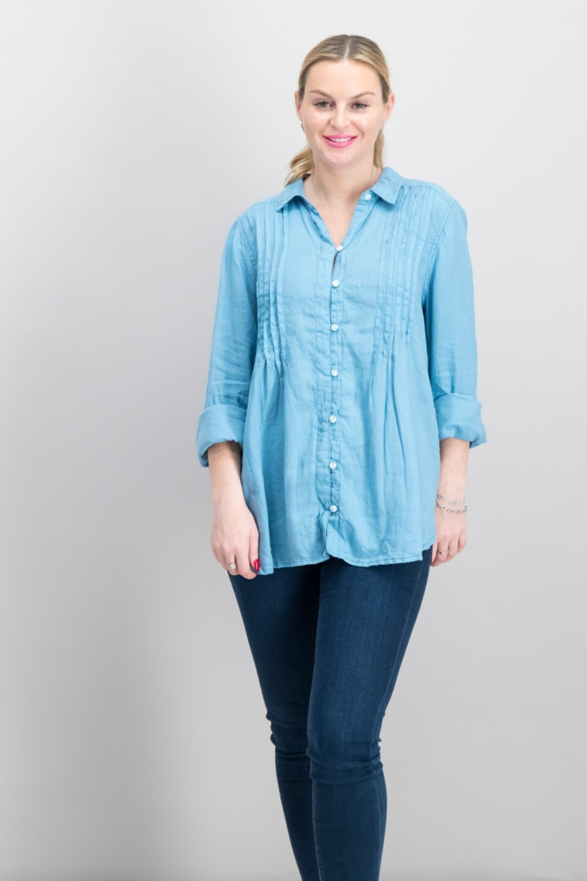 Women's  Linen Pleated Shirt, Blue