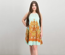 Free People Women's Shea Printed Halter Neck Mini Dress, Mint Green Combo