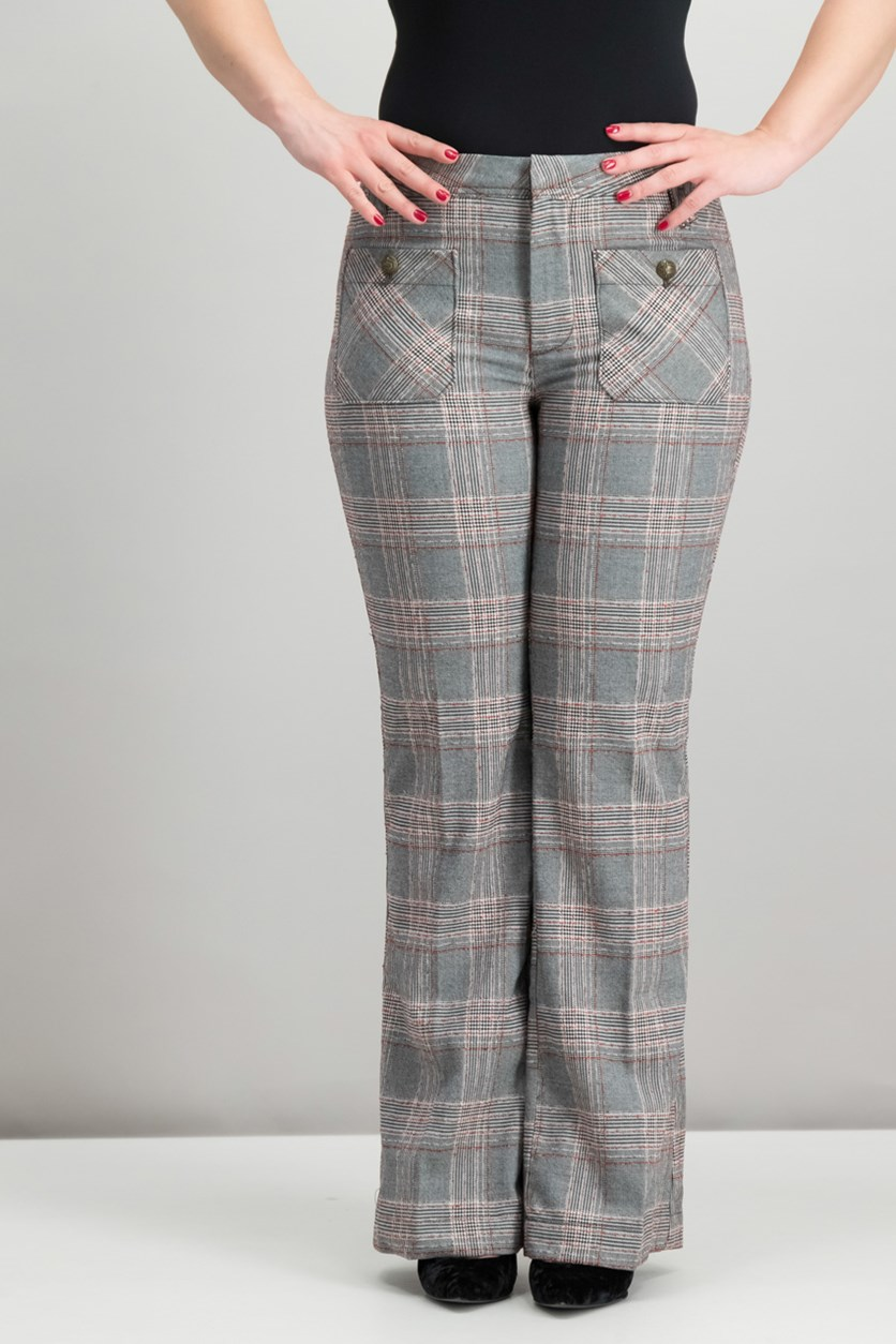Plaid Flare-Leg Pants, Black/Red