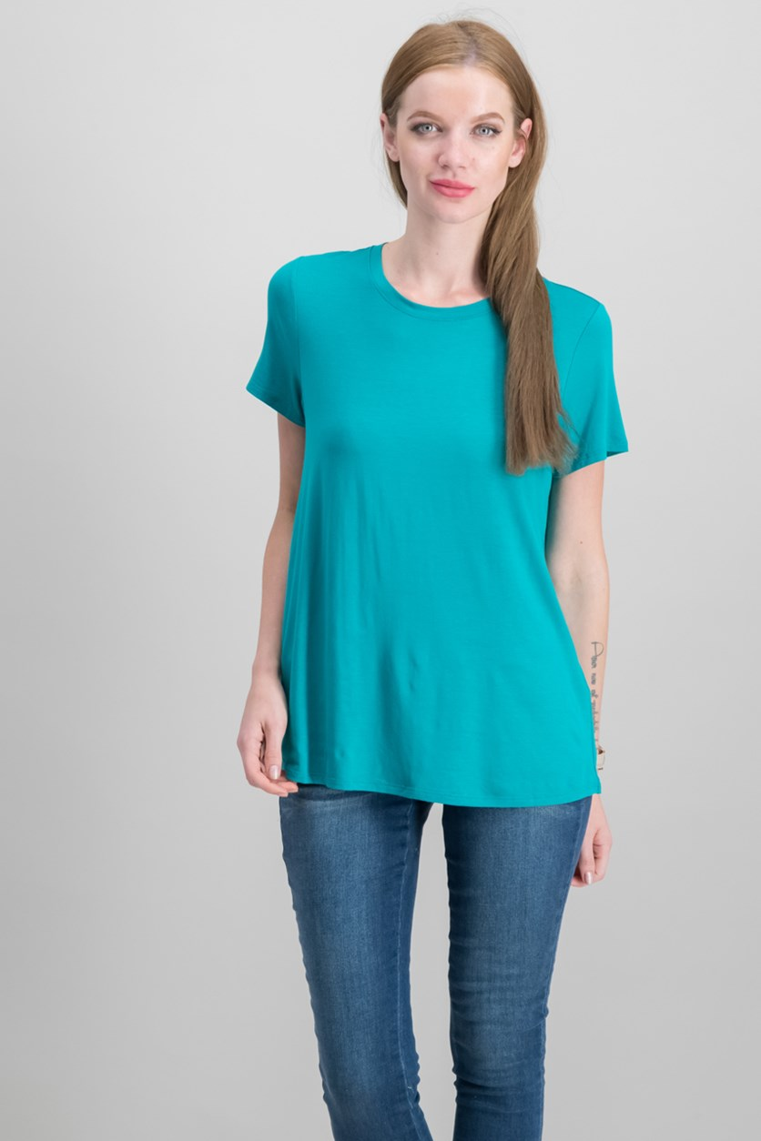 Women's Petite Stretch Jersey T-Shirt, Turquoise