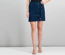 Kensie Lace-Up Hardware-Detail Skirt, Navy