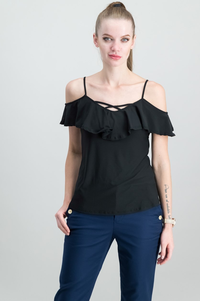Juniors' Cold-Shoulder Top, Black