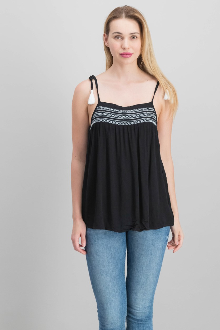 Juniors Embroidered Smocked Tank Tops, Black