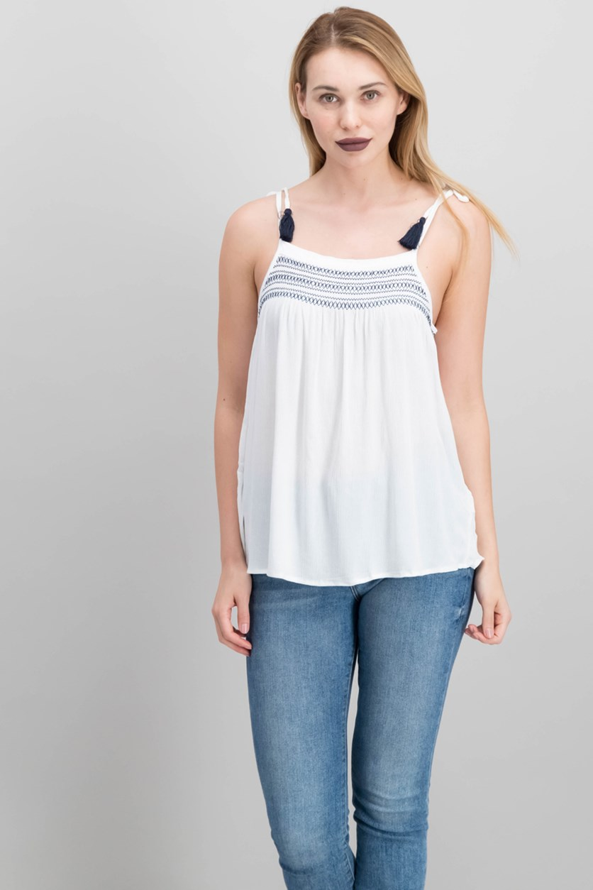 Juniors Embroidered Smocked Tank Top, White/Blue