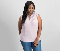 Women Plus Size Twisted Keyhole Top, Antique Pink