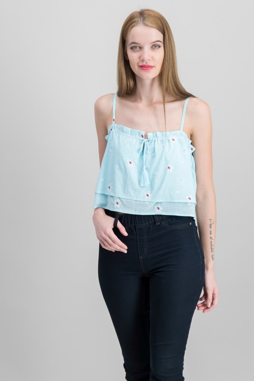 Adjustable Tiered Cotton Crop  Top, Angel Blue