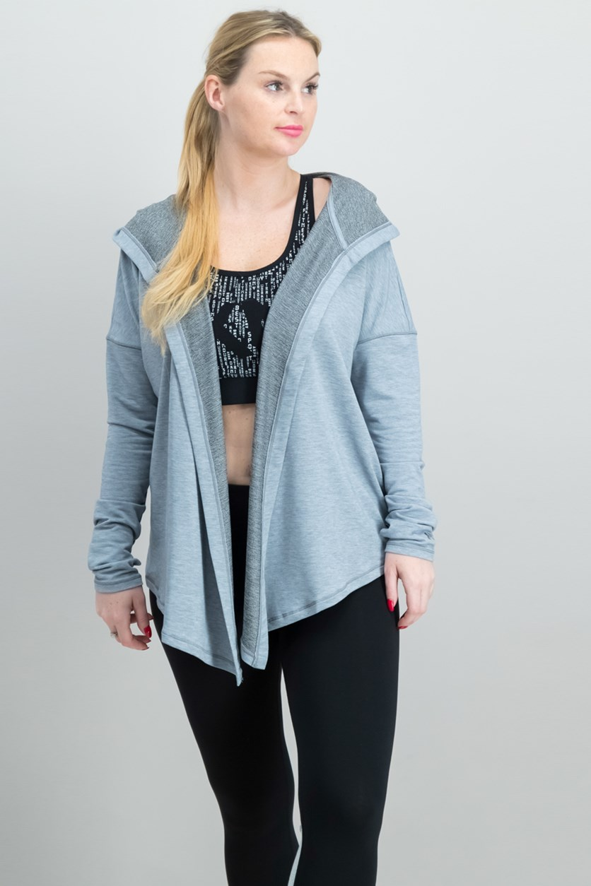 Women's Modal Terry Open Closure Hooded Cardigan, Gray