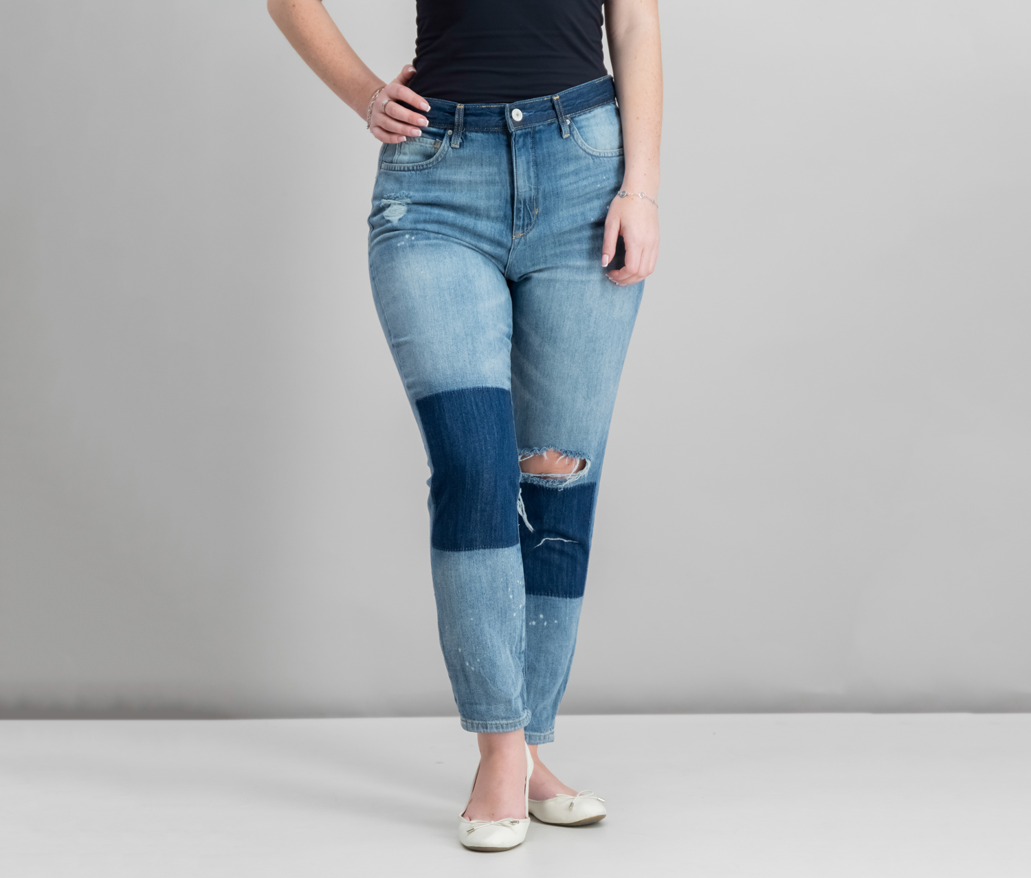 Shadow Cotton Cuffed Jeans, Hartly