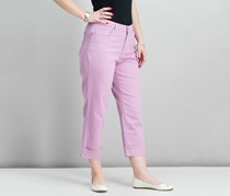 Women Cuffed French Birch Wash Jeans, French Orchid Pink