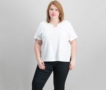 Alfred Dunner Plus Size Embellished-Neck Top, White