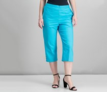 Alfred Dunner Cropped Ladder-Hem Pull-On Pant, Aqua