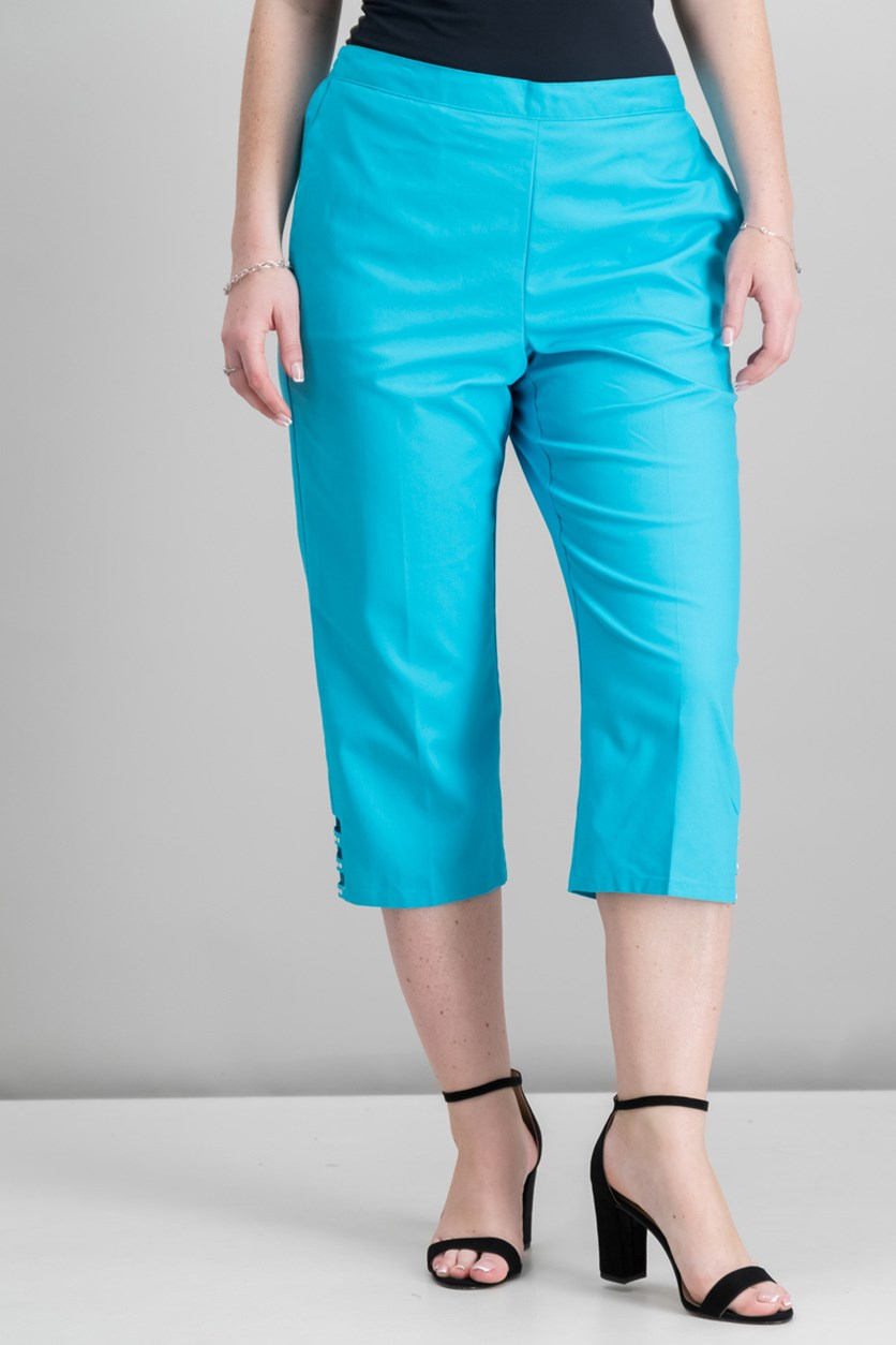 Cropped Ladder-Hem Pull-On Pant, Aqua