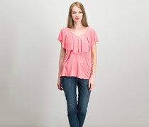 Lucky Brand Women's Ruffled T-Shirt, Coral