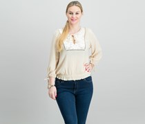 Cotton Embroidered Peasant Top, Beige