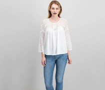 Lucky Brand Bell-Sleeve Shadow-Stripe Top, Lucky White