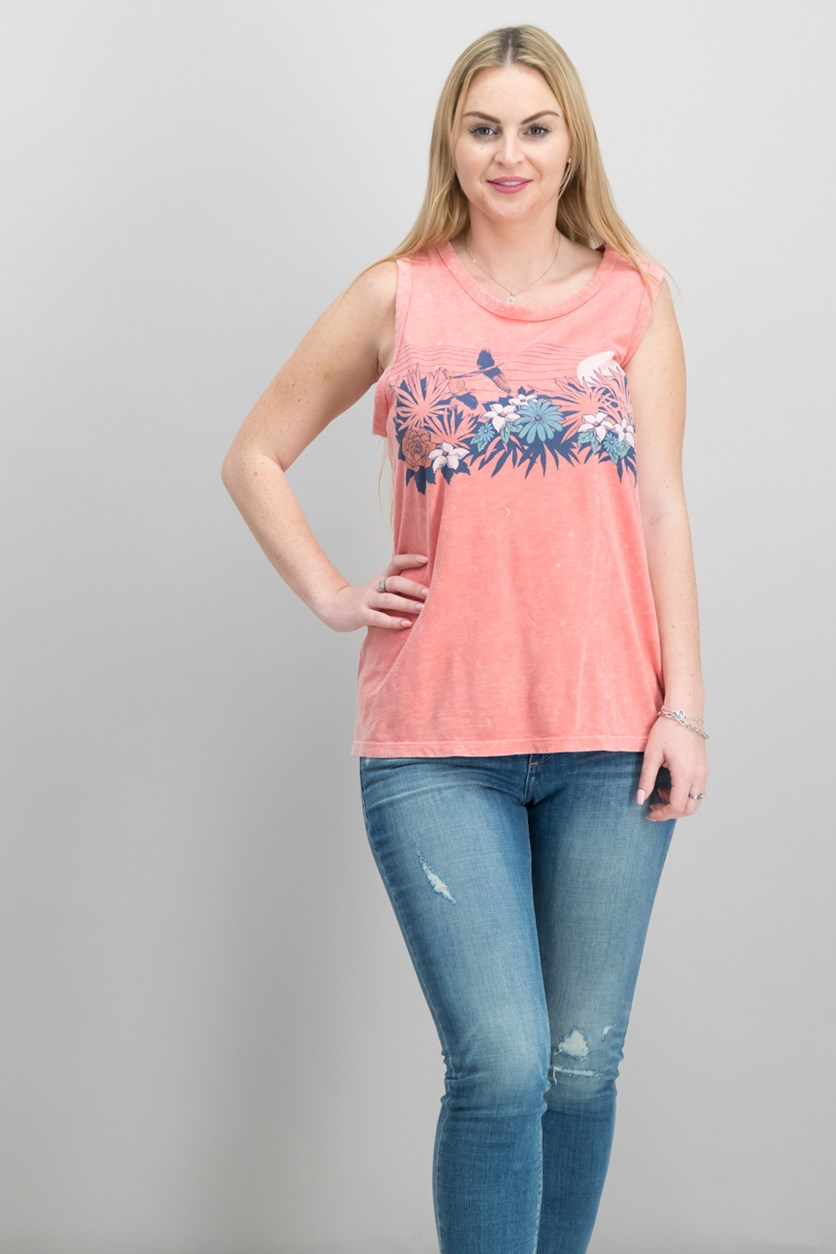 Cotton Graphic Tank Top, Spiced Coral