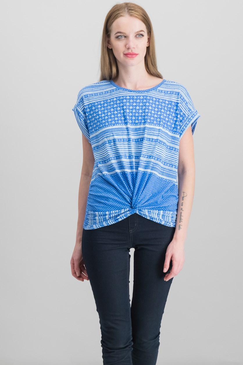 Printed Twist-Hem T-Shirt, Baleine Blue