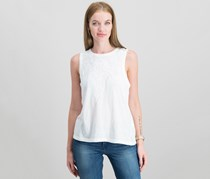 Women Ruched Tank Top, Lucky White