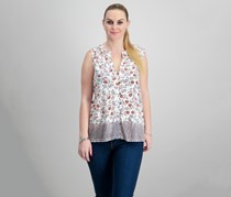 Lucky Brand Border-Print Top, Natural Combo