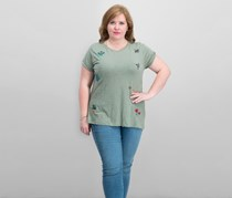 Lucky Brand Trendy Plus Size Embroidered T-Shirt, Olive