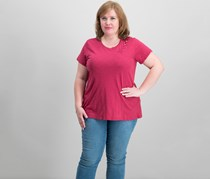 Lucky Brand Women's Trendy Plus Size Cotton T-Shirt, Earth Red