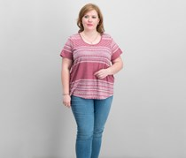 Lucky Brand Trendy Plus Size Cotton Printed T-Shirt, Red Combo