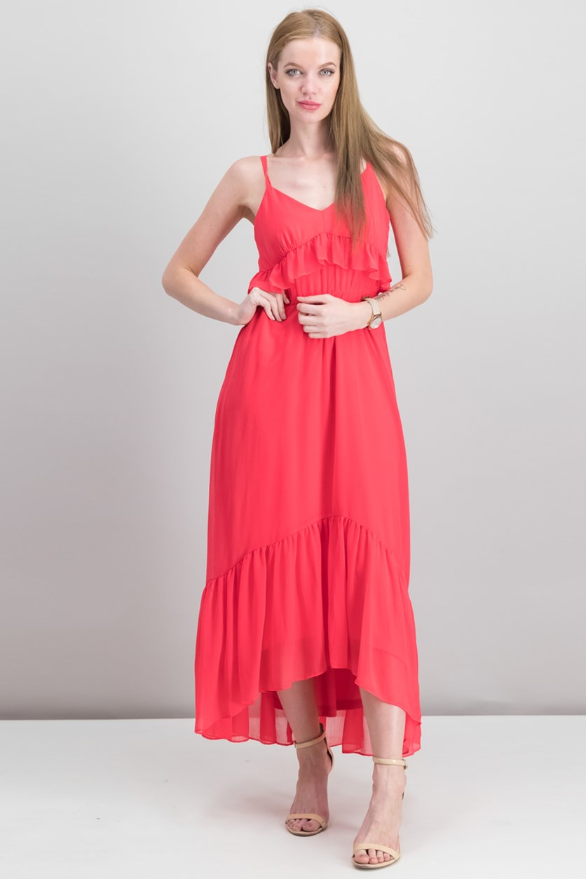 Ruffled Chiffon Maxi Dress, Watermelon