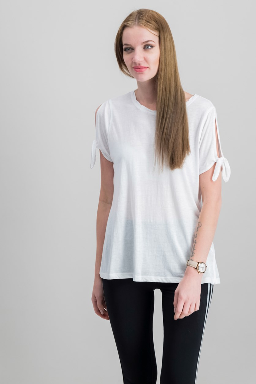 Performance Icy Wash Cold-Shoulder Vented Top, White