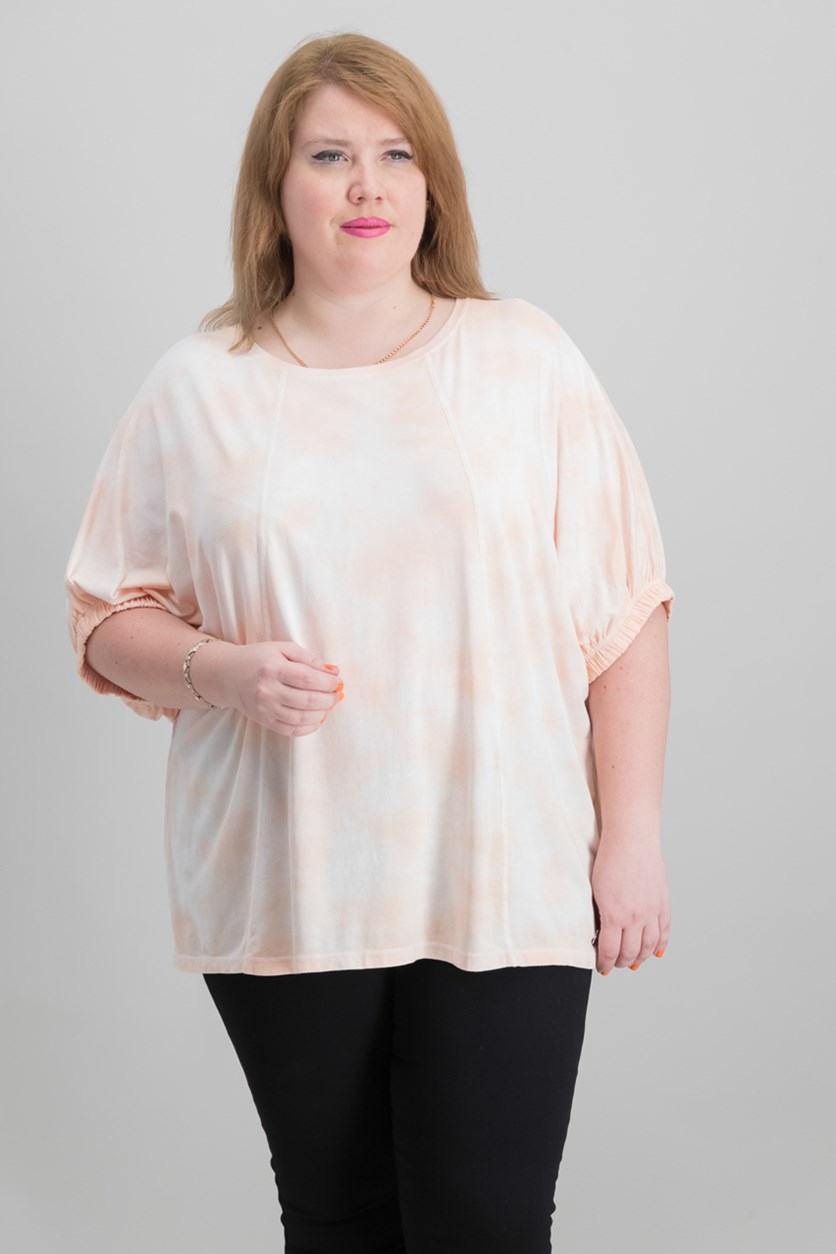 Plus Size Relaxed Tie-Dyed T-Shirt, Peach