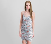 Guess Janiah Printed Ruched Bodycon Dress, Spring Ditsy Brilliant White