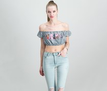 Guess Paradise Off-The-Shoulder Crop Top, Black/White