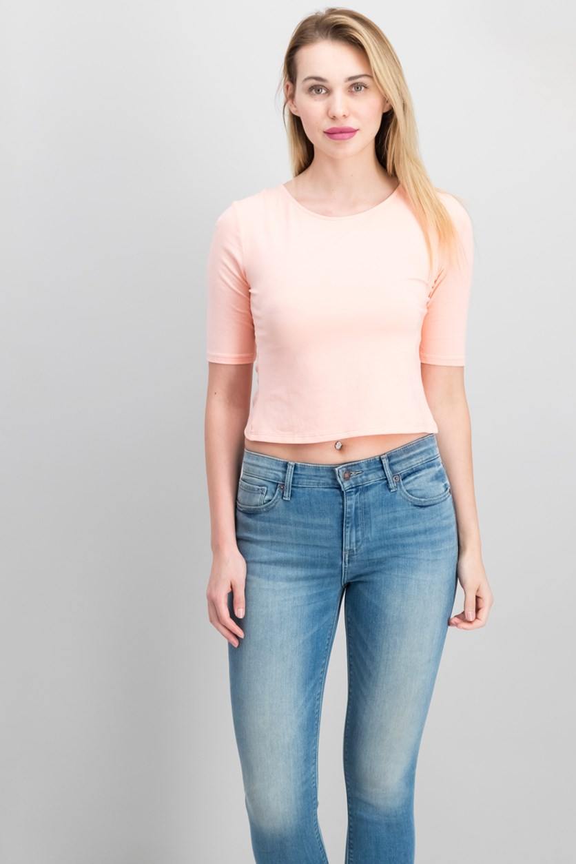 Leland Cutout Crop Top, Peach Queen