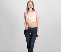 Guess Malai Printed Tie-Front Crop Top, Peach