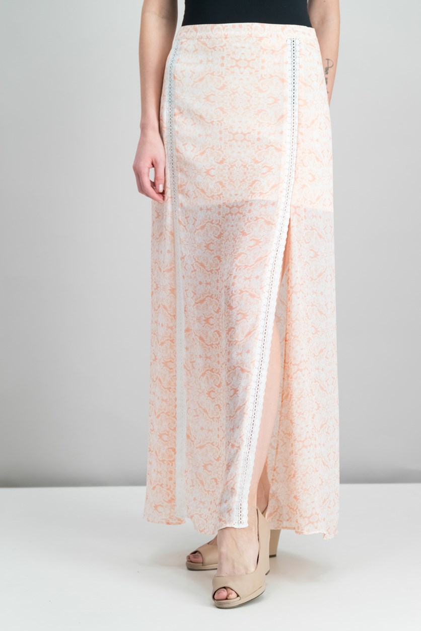 Malai Printed Crochet-Trim Skirt, Ivory/Peach