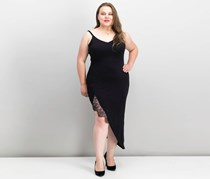 Soprano Trendy Plus Size Lace-Trim Slip Dress, Black