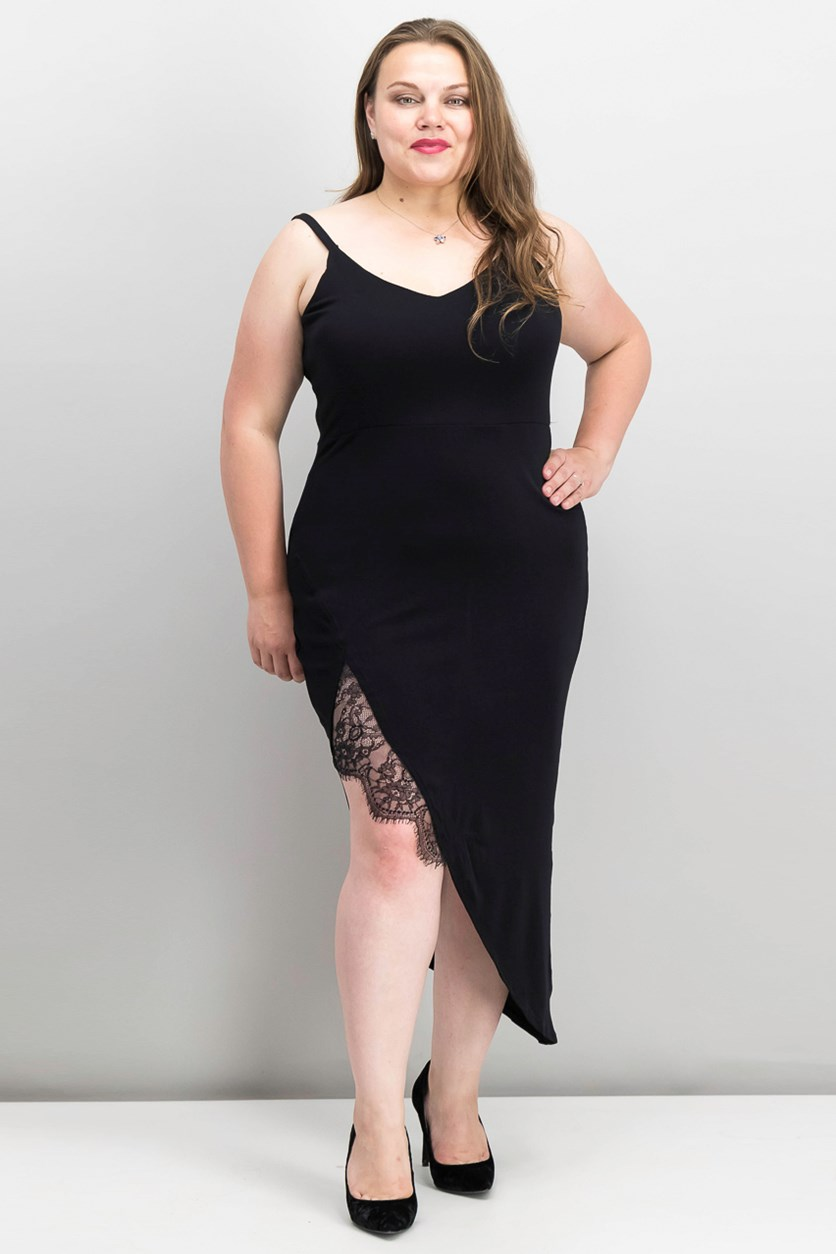 Trendy Plus Size Lace-Trim Slip Dress, Black
