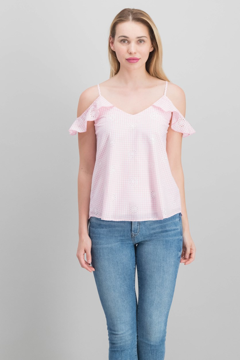 Gypsies & Moondust Juniors' Cold-Shoulder Top, Pink/White