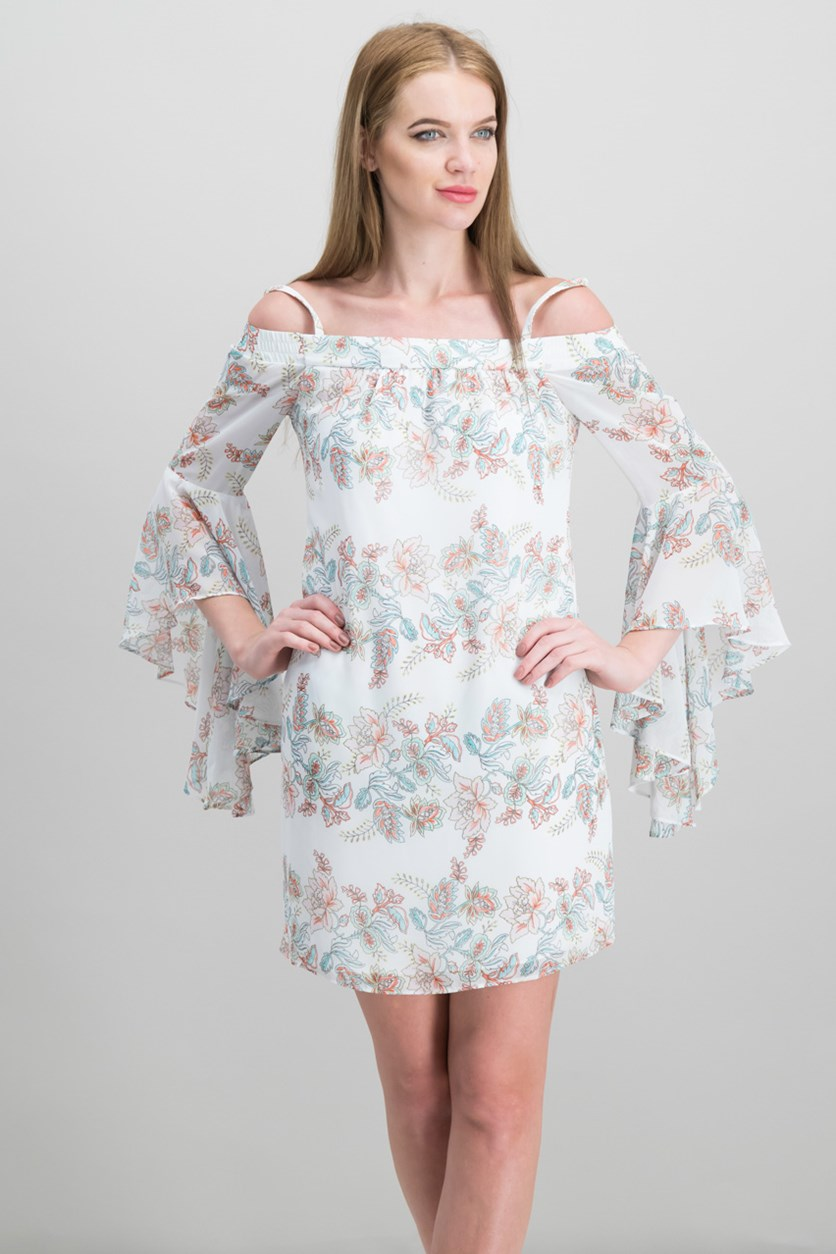 Women's Printed Off The Shoulder Dress, Blush Combo