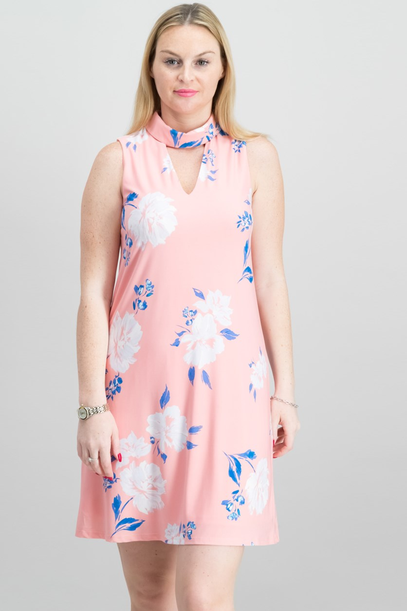 Floral-Print Choker Dress, Peach