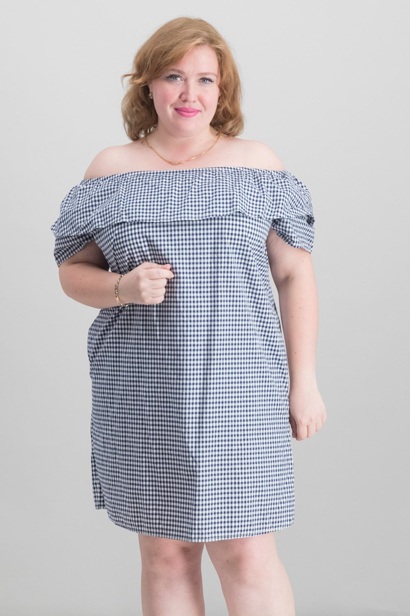 Cotton Gingham Off-The-Shoulder Dress, Navy