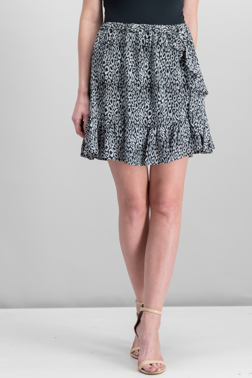 Ruffle-Trim Leopard-Print Skirt, Black/white