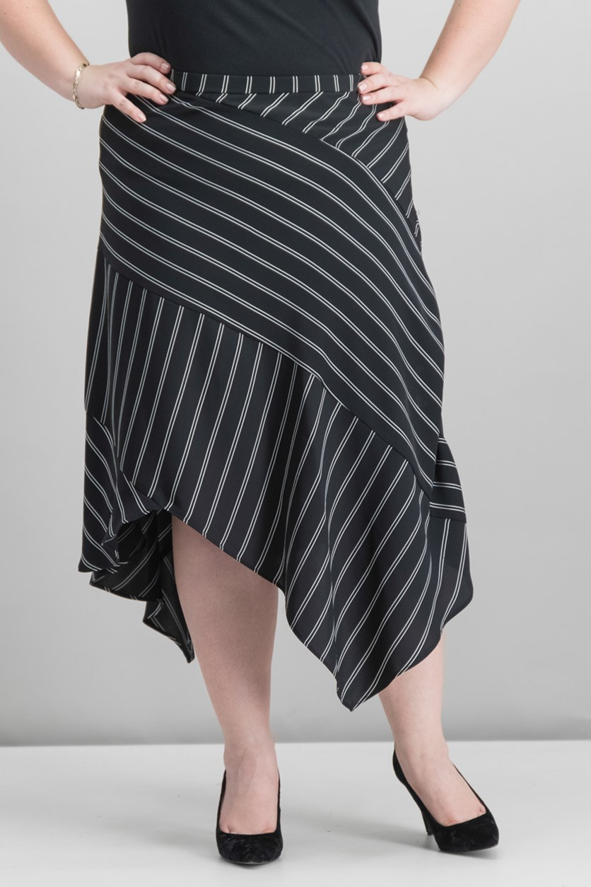 Striped Asymmetrical-Hem Skirt, Black/White