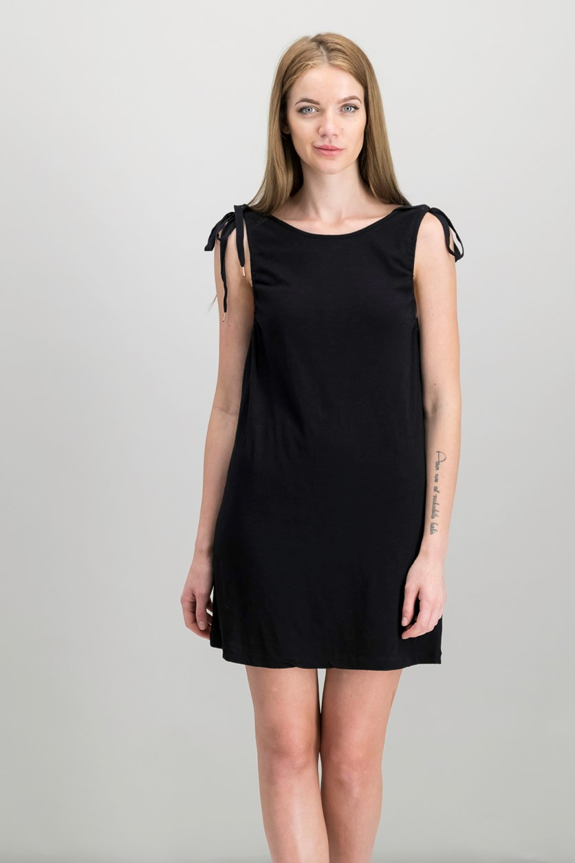 Midsummer Tie-Shoulder Dress, Black