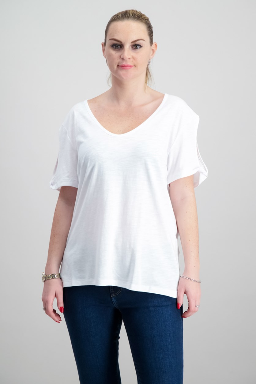 Twist-Sleeve Soft T-Shirt, White