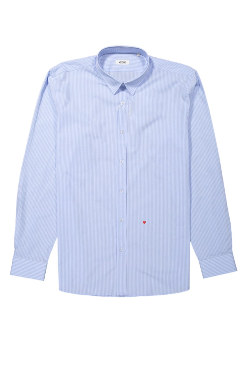 Moscshino Men's Stripe Shirt, Light Blue/White