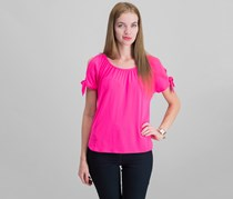 INC Women Petite Cold Shoulder Top, Intense Pink