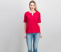 Karen Scott Cotton Spit-Neck Studded Top, New Red Amore
