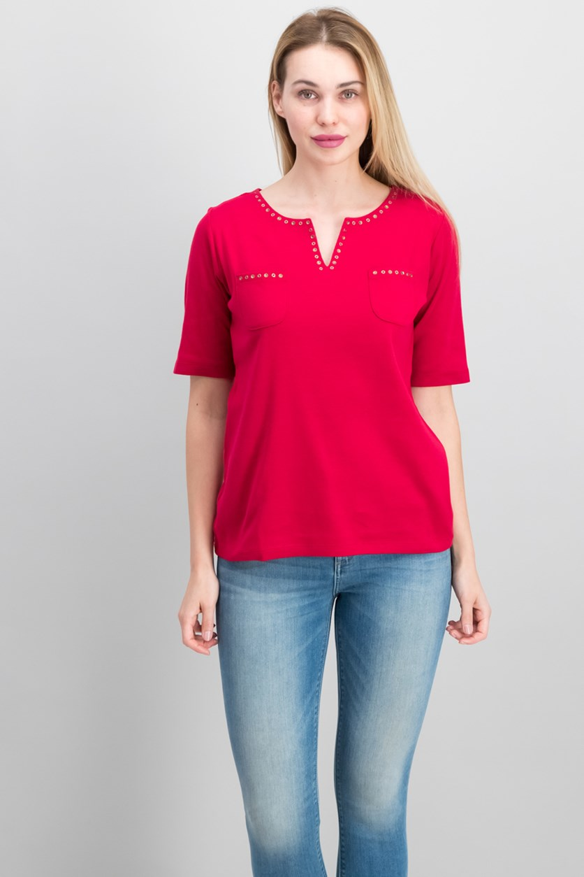 Cotton Spit-Neck Studded Top, New Red Amore