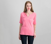 Cotton Split-Neck Studded Top, Strawberry Ice